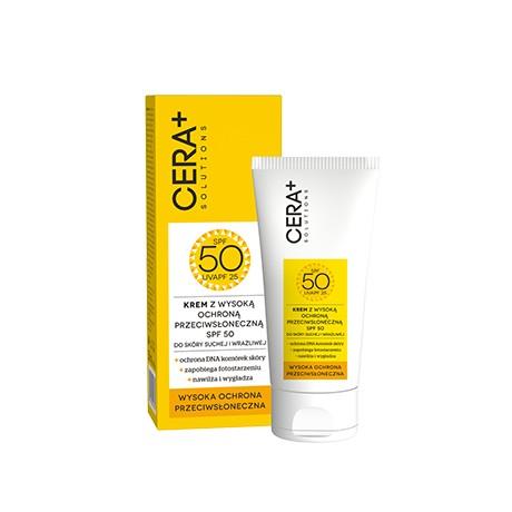 Krem z wysoką ochroną przeciwsłoneczną SPF 50, skóra sucha i wrażliwa, 50 ml Cera Plus Solution